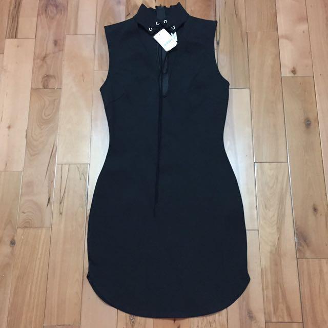 Lace Up Choker Dress