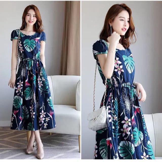 Long Blue Print Dress