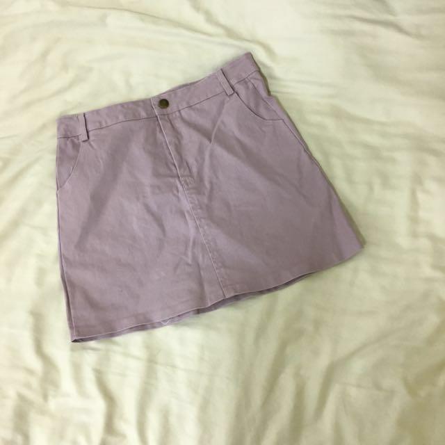 Lulus 香芋粉紫色銅釦A字裙