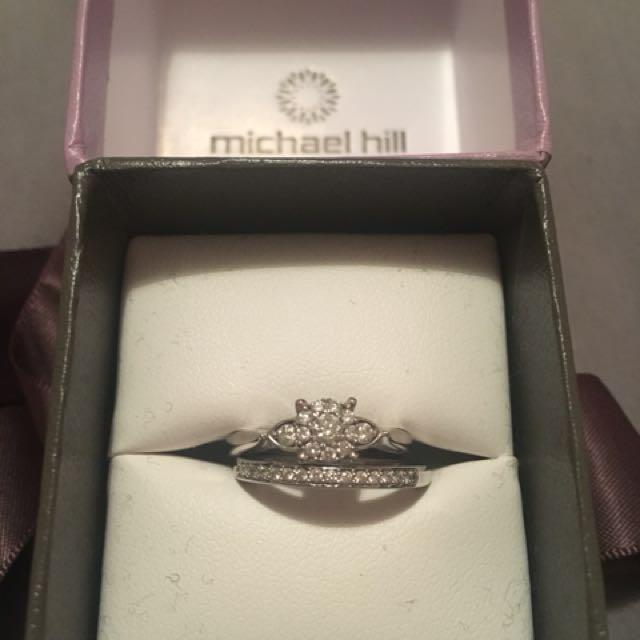 Michael Hill 10ct WG diamond cluster bridal set