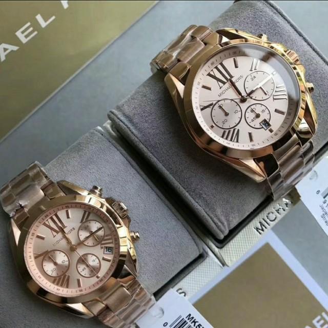 MICHAEL KORS 經典時尚情侶對錶,腕錶(一隻4900)下面有標註尺寸