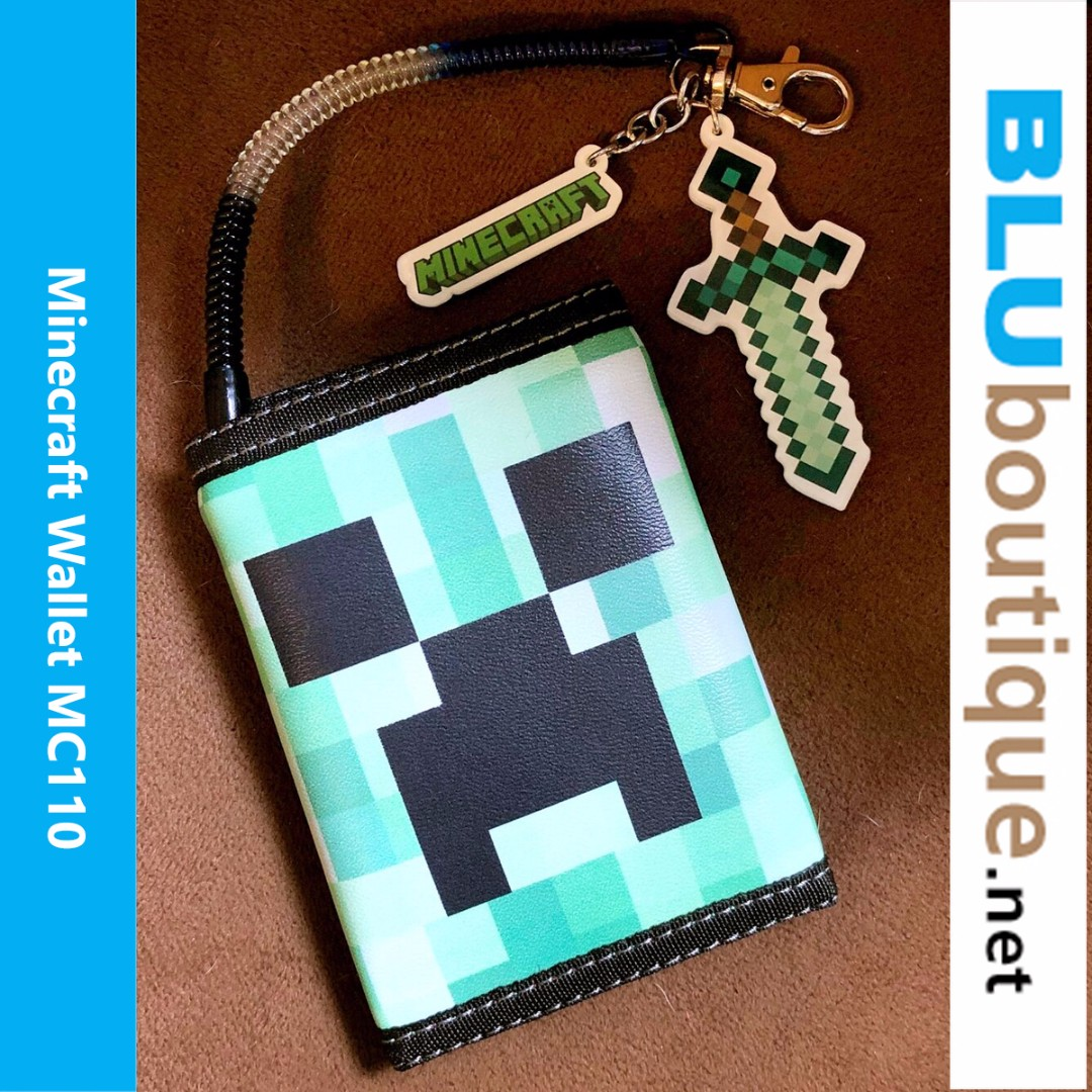 Minecraft Creeper Wallet MC110 with solid acrylic Minecraft and Diamond Sword