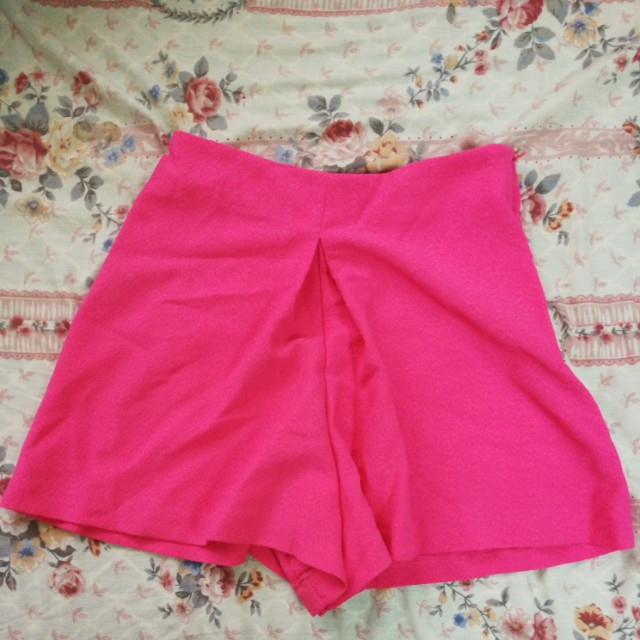 Miss selfridge neon pink high waist shorts