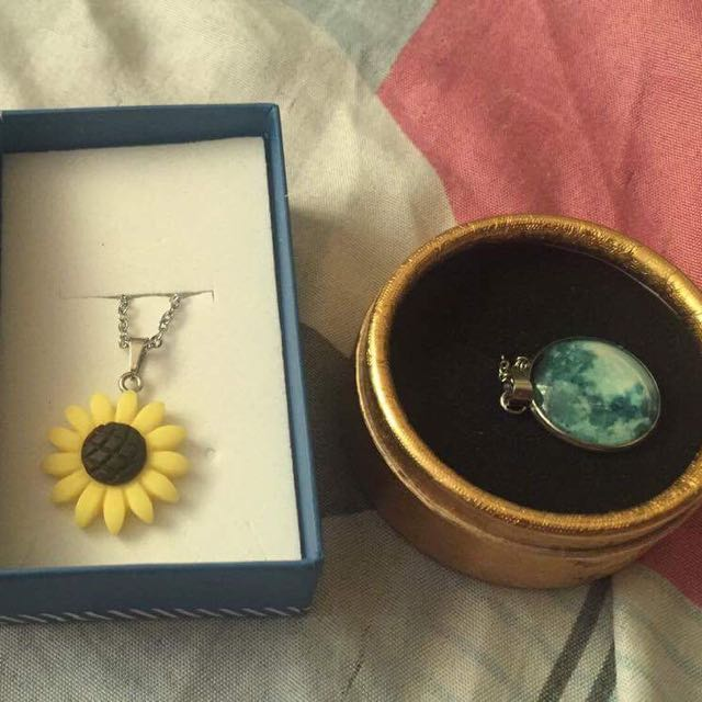 Moon & Sunflower Necklace