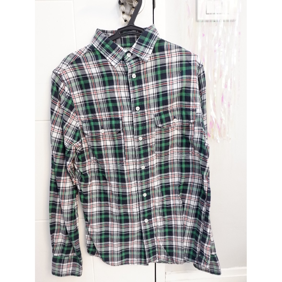 MOSSIMO GREEN  flannel long-sleeved polo