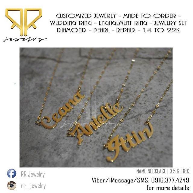 a617e1910e9e6 Name Necklace 18 Karat Gold on Carousell