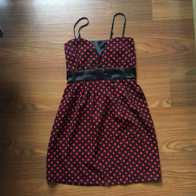 NEW Black red polka dot dress
