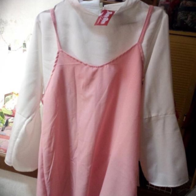NEW Blouse pink white