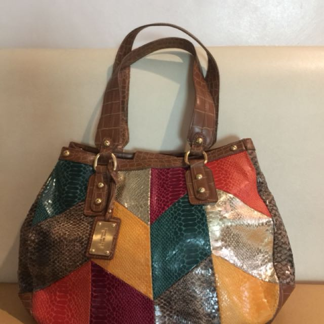 NINE WEST MULTICOLOR PATCH LEATHER TOTE