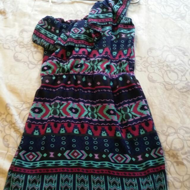 One Shoulder Ruffle Collar Dress