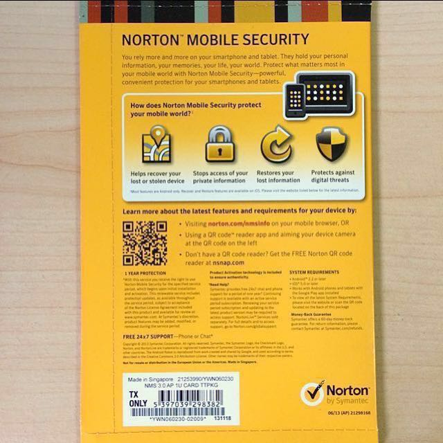 norton mobile security free code