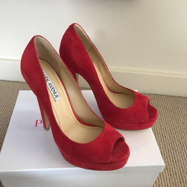 Park Avenue Red Suede Peep toe heels - Brand New