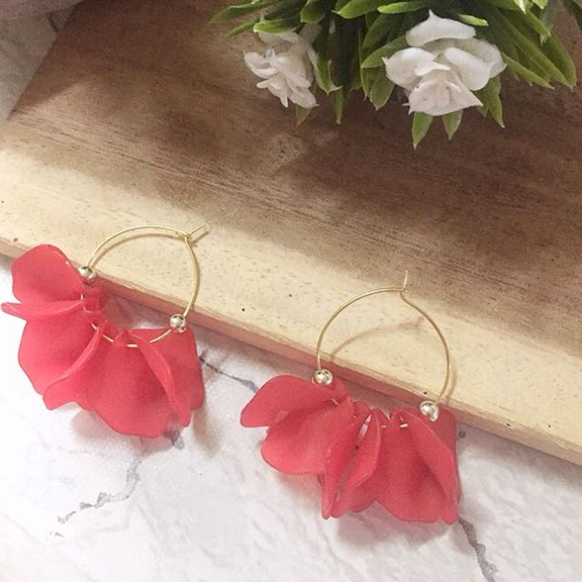 Peach petal earrings