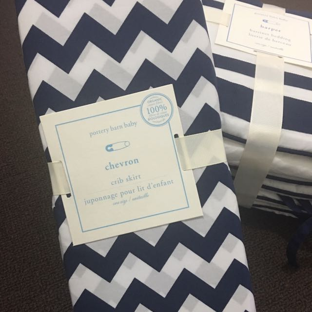 Pottery Barn harper bedding & chevron crib skirt