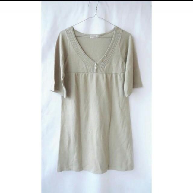 洋【POU DOU DOU】優雅V領長版毛衣裝(卡其)