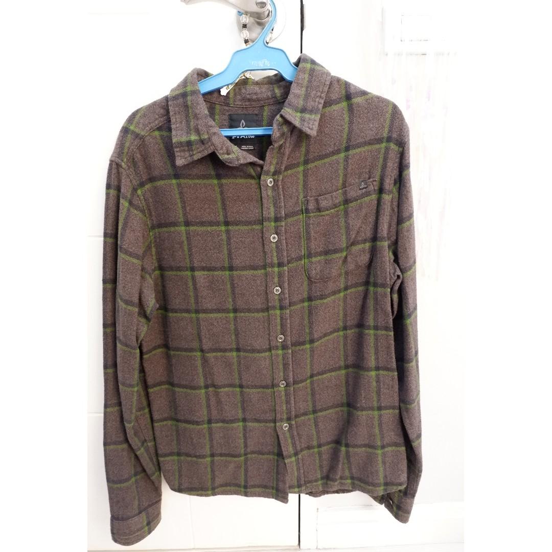 PRANA DARK GRAY flannel long-sleeved polo