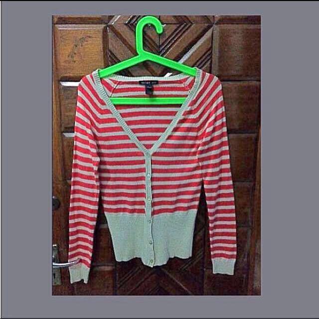 Preloved MANGO Red/Creme Stripes Cardigan