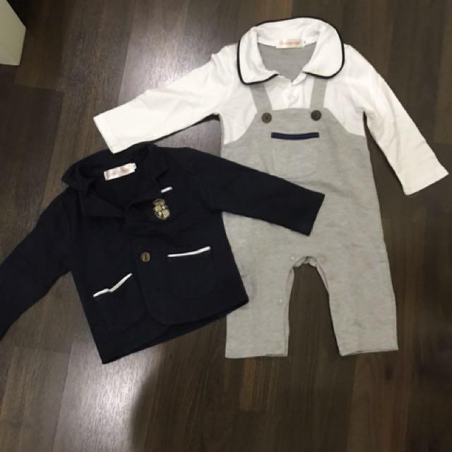 Preloved romper n jacket set size 90 ( 12-18months )