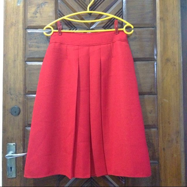 Preloved SELECTION Red A-Line Skirt