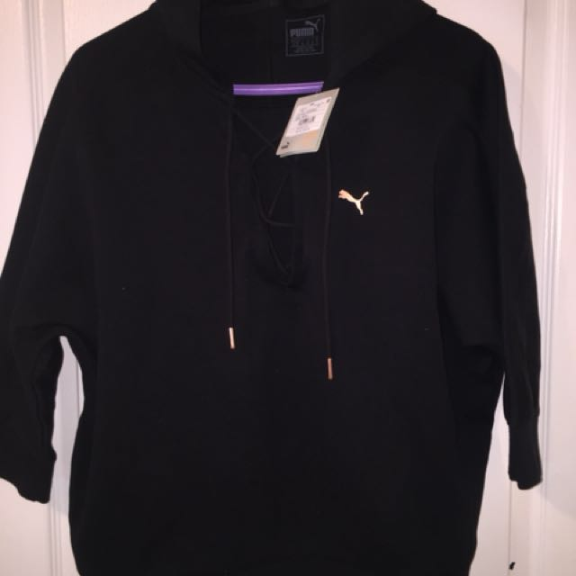 Puma black and rose gold pull over hoodie