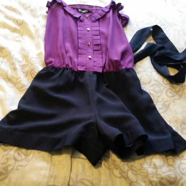 Purple Jumpsuit With Tie Waist