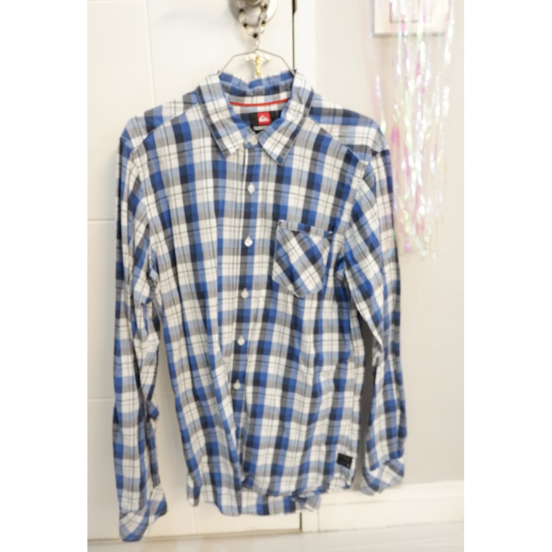 QUIKSILVER BLUE flannel long-sleeved polo