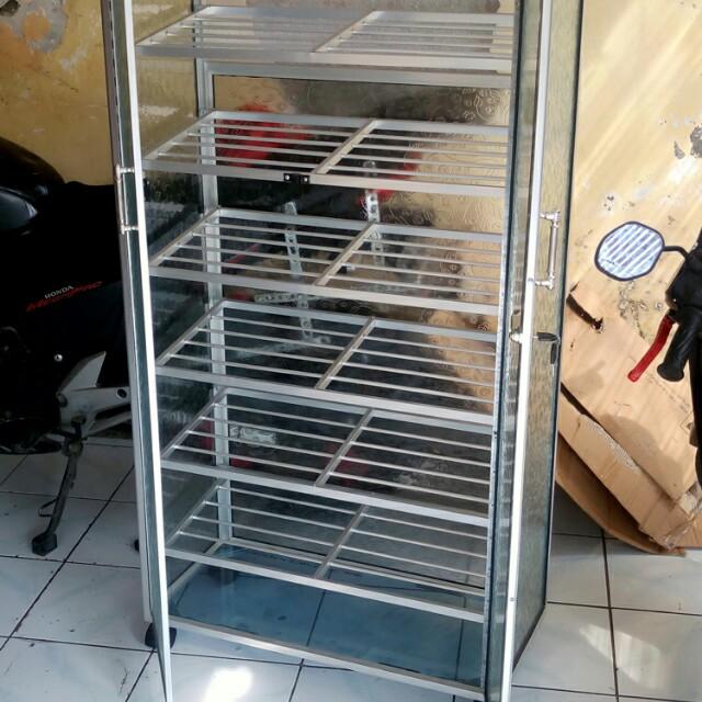 Rak Sepatu Aluminium Putih Kaca Es 7 Susun Roda 75 135 Serba