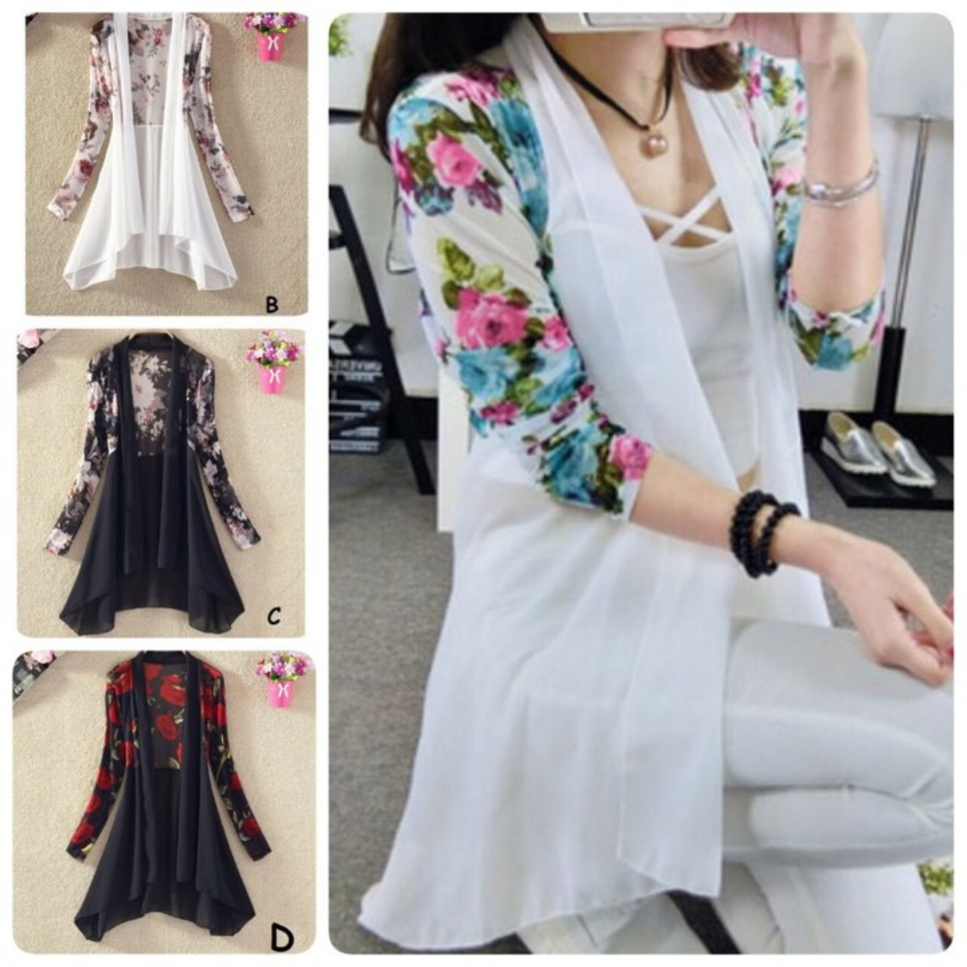 [READY STOCK]Long sleeved flora cardigan chiffon