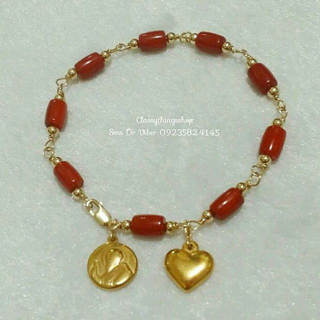 Red Coral Bracelet w/ St.Benedict & Heart Charm