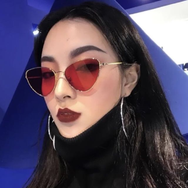 b33d08cedf Red Tinted Cat Eye Sunglasses