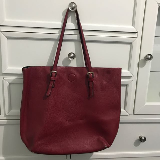REVERSIBLE BAG - RED AND BLACK leather