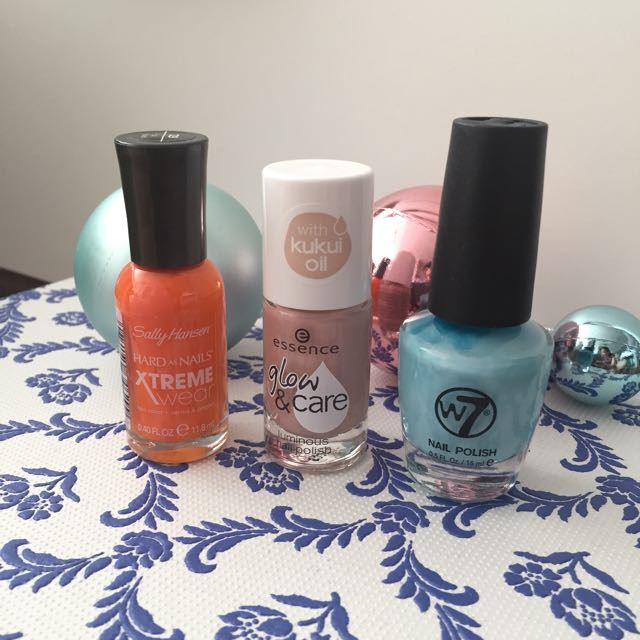 Sally Hansen Orange nail polish, Essence luminous nail polish & w7 summer blue