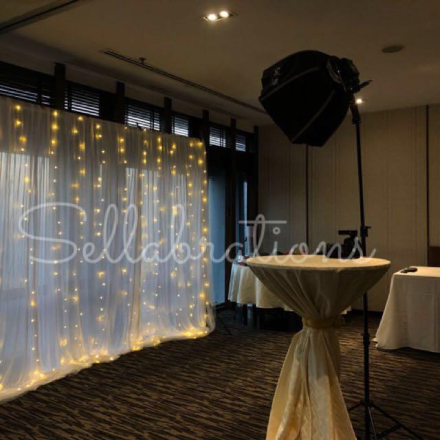 [Sellabrations] Fairy Lights White Mesh Backdrop Rental 3m x 3m