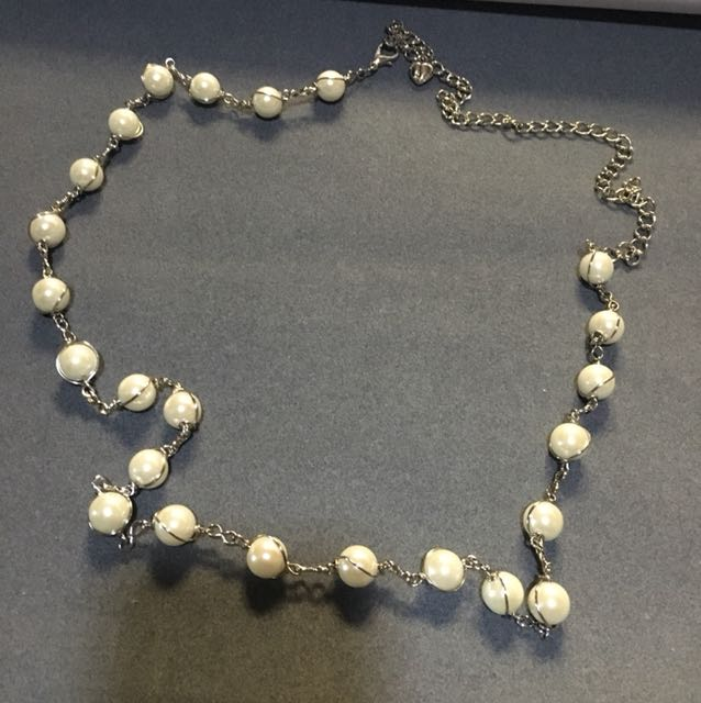 Silver-Pearl Necklace/Belt