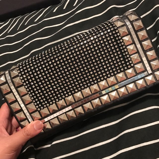 Studded Black Clutch