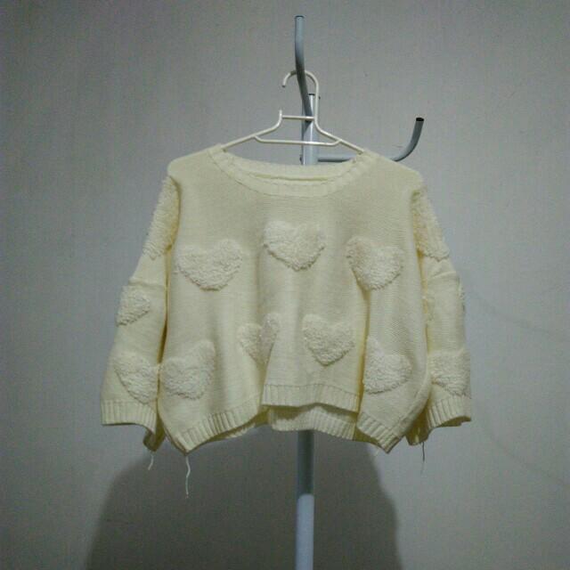 Sweater crop rajut import Rp.75.000