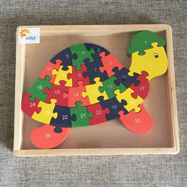 Turtle Alphabet/Numeric Wooden Puzzle