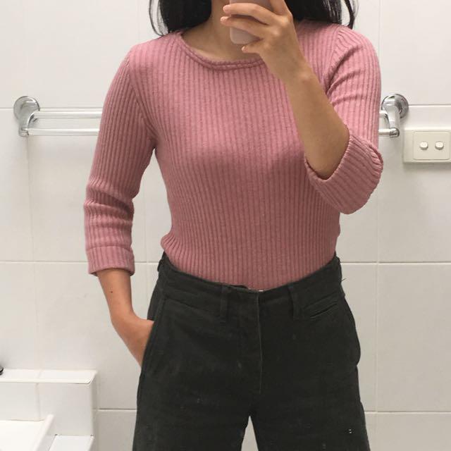 Vintage pink rib knit top
