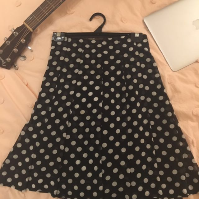 Vintage Polka Dot Black Skirt