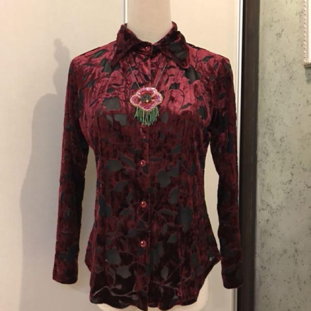 Vintage velvet sheer blouse