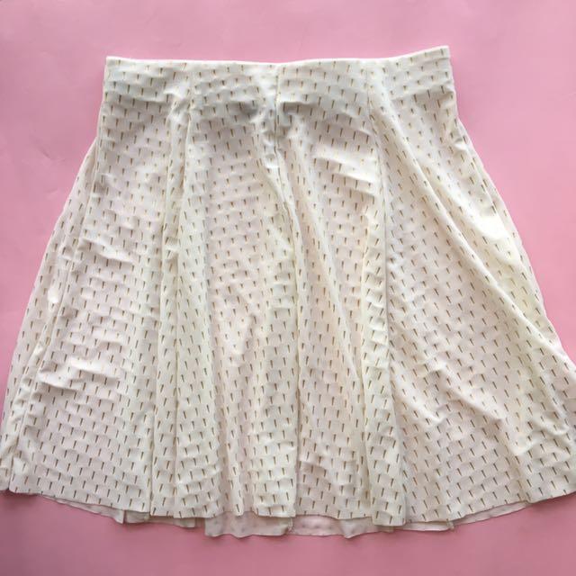White skater skirt with staples