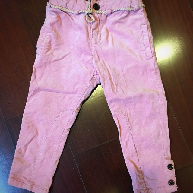 Zara baby💕女童乾燥玫瑰粉絨布長褲18-24m