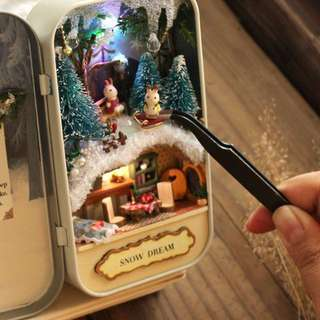 #1212YES【 Christmas gift 】CUTEROOM DIY Box Theatre Forest Adventure Box /Snow Dream Box/Island Adventure Box Theatre Handmade Craft for Kids Home Decor
