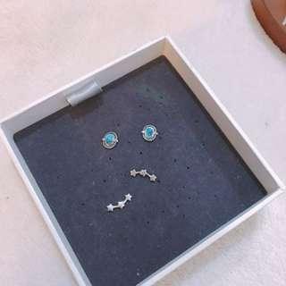925純銀 全新 土耳其石 三連星 耳環 耳扣也是925純銀