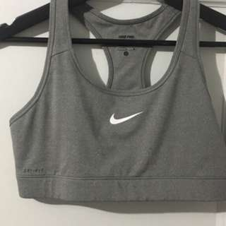 Gray Nike sports bra