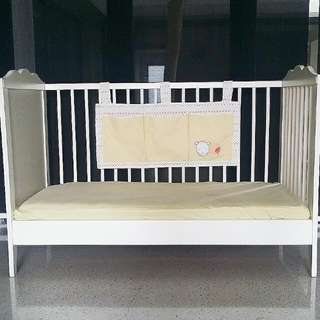 IKEA Baby Cot with Mattress and Mothercare Cot Pocket/Organiser