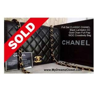 Full Set CLASSIC CHANEL Black Lambskin CC Gold Chain Full Flap WOC Crossbody Bag