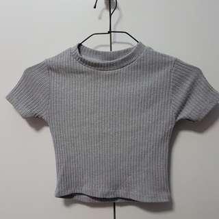Grey Ribbed Crop Top