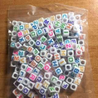 Alphabet Beads - White Colourful 7mm