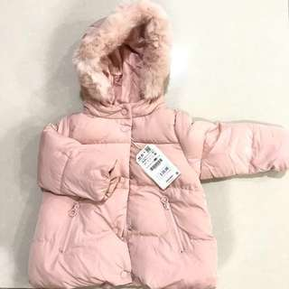 ZARA Quilted feather down coat with faux fur hood